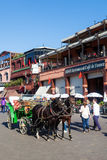 Horse carriage on the square Djema elf Fnaa in Marrakesh Royalty Free Stock Images