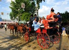 Horse carriage to walk around the Feria de Sevilla, Spain. Stock Photos