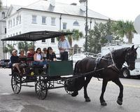Horse and carriage tour around Charleston, South Carolina. Royalty Free Stock Photos