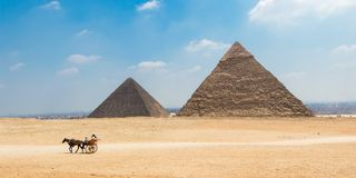 Horse carriage with tourists in front of the Great Pyramids of Giza. Egypt stock photos