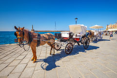 Horse carriage for transporting tourists in old port of Chania on Crete, Greece Stock Image