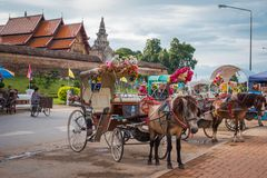Horse carriage at Wat Phra That Lampang Luang. The ancient temple in Thailand. royalty free stock images
