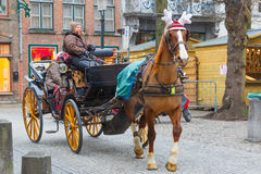 Horse carriage on the street of Brugge Christmas Royalty Free Stock Photography
