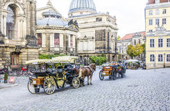 Horse carriages in Dresden Stock Photos