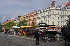 Horse carriages in historic city of karlovy vary (Karlsbad), Czech Republic. Lined up horse carriages in historic city of karlovy vary (Karlsbad), Czech Republic stock photos