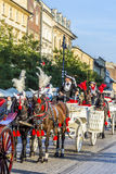 Horse and carriages at the Main Market Square in Krakow Royalty Free Stock Photo