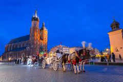 Horse carriages at the Main Square in Krakow. Poland Stock Image