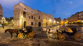 Horse carriages  near ayuntamiento in  Seville, Spain Royalty Free Stock Image
