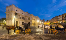 Horse carriages  near ayuntamiento in  Seville Stock Photography