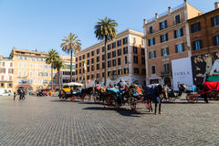 Horse and Carriages near Spanish Steps in Rome Royalty Free Stock Images