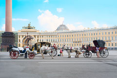 Horse carriages service for tourists in St Petersburg Stock Photos