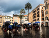 Horse carriages at the Spanish Steps in Rome Royalty Free Stock Photography