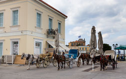Horse carriages in Spetses island, Greece Royalty Free Stock Photography