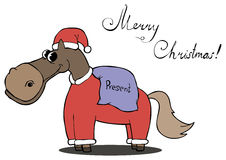 Horse carries gifts for Christmas Royalty Free Stock Image