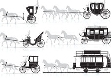 Horse cart. Vector and raster illustration Stock Images