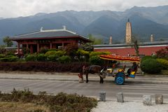 A horse cart in Dali... royalty free stock image