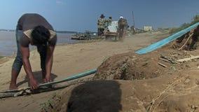 Horse cart , ferry boat, cambodia, southeast asia Stock Photo