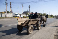 Horse cart with gipsy Stock Photo
