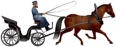 Horse cart, izvozchik, coachman on droshky. Horse-drawn carriage, four-wheeled public carriages used in Russia and other countries, XIX century passenger Stock Photography