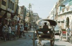 1977. India. Horse cart, on the main street. Stock Photo