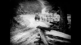 Horse cart moving on street stock video footage