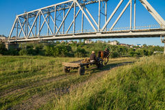 Horse with a cart moving under the railway bridge Stock Photography