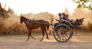 Horse cart on street in Bagan, Myanmar