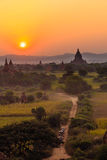 Horse cart and Sunset  ,  Bagan in Myanmar (Burmar) Royalty Free Stock Images