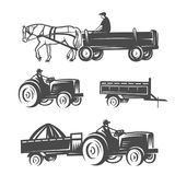 Horse with cart and tractors. vector illustration