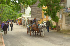 Horse cart Turkish island street Stock Image