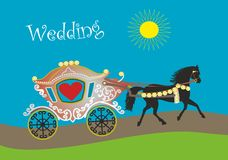 Horse and cart for wedding or honeymoon. Could be used for wedding, marriage as well as marketing for rent a horse and vagon for wedding royalty free illustration