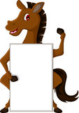 Horse cartoon with blank sign Stock Images