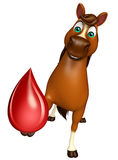 Horse cartoon character with blood drop Stock Images