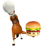 Horse cartoon character with chef hat and burger. 3d rendered illustration of Horse cartoon character with chef hat and burger Royalty Free Stock Photography