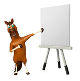 Horse cartoon character with easel board. 3d rendered illustration of Horse cartoon character with easel board Royalty Free Stock Photo
