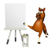 Horse cartoon character with easel board. 3d rendered illustration of Horse cartoon character with easel board Royalty Free Stock Photos