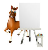 Horse cartoon character with easel board. 3d rendered illustration of Horse cartoon character with easel board Stock Photos