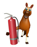 Horse cartoon character with fire extinguisher Stock Photography