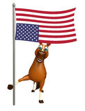 Horse cartoon character  with flag. 3d rendered illustration of Horse cartoon character with flag Royalty Free Stock Photos
