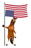 Horse cartoon character  with flag. 3d rendered illustration of Horse cartoon character with flag Royalty Free Stock Images