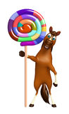 Horse cartoon character with lollypop Royalty Free Stock Photos