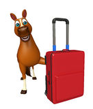Horse cartoon character  with travel bag Stock Photo