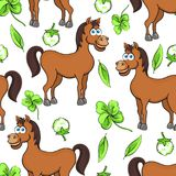Horse cartoon drawing seamless pattern, vector illustration. Funny cute painted brown horse flowers and clover leaves on white bac Stock Photography