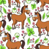 Horse cartoon drawing seamless pattern, vector illustration. Funny cute painted brown horse, pink flowers and clover leaves on whi Royalty Free Stock Photos
