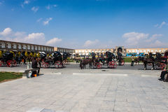 Horse carts at Imam square Royalty Free Stock Photo