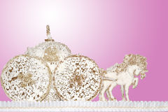 Horse carts made of sugar paste marzipan background gold pink. Horse carts made of sugar paste marzipan background royalty free stock photos
