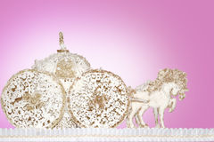 Horse carts made of sugar paste marzipan background pink. Horse carts made of sugar paste marzipan background stock photography