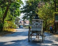 Horse carts in Pyin Oo Lwin, Myanmar royalty free stock photos