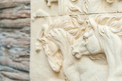 Horse Carving art of freedom in soft light Royalty Free Stock Images