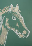 Horse. Chalk drawing of horse on a blackboard stock images